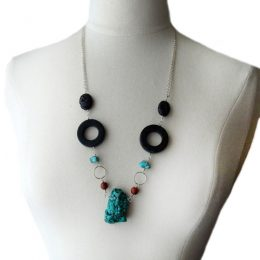 """Sterling Silver Jasper, Turquoise, Black Lava Rock and Marble. 28 ½"""" Long"""