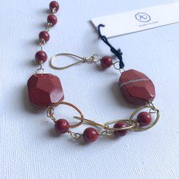 Red Jasper and Coral 14K Gold Filled Bracelet