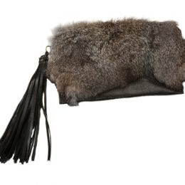 Black and Gray Leather and Rabbit Fur Clutch with Leather Tassel
