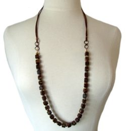 "Jasper, Copper, Coco Beads and Leather Cord. Adjustable up to 50"" Long"