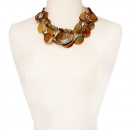 Handmade Agate, Horn and Copper Necklace.