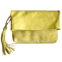 Yellow Leather Clutch with Leather Tassel