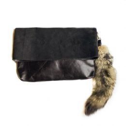 Black Fold Over Leather Clutch with Fox Fur Key Chain
