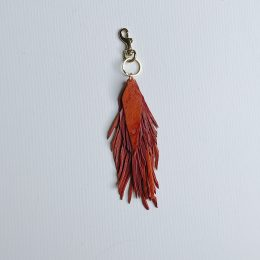 Leather Feather Bag Charm / Keychain