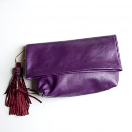 Purple Leather Clutch with Leather Tassel