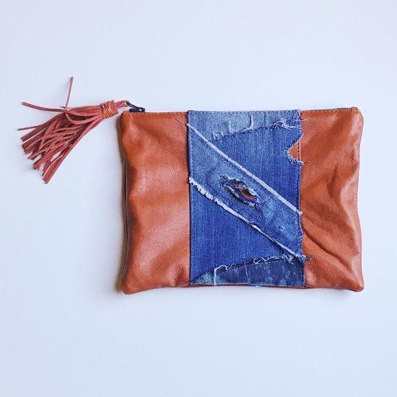 Lennon Leather and Denim Bag