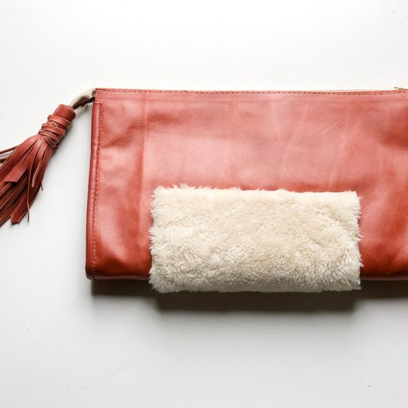 Shaw Leather with Shearling Clutch Bag