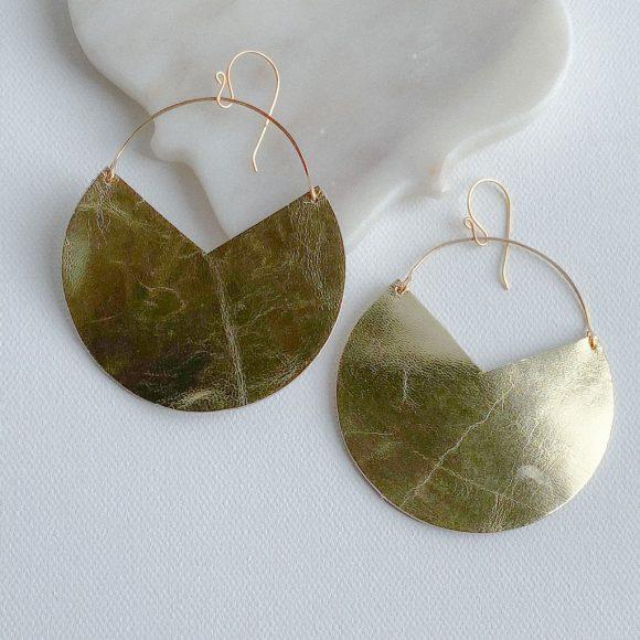 Rayla Gold Leather Earrings